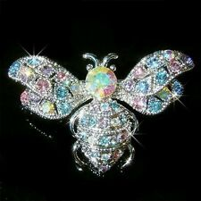 w Swarovski Crystal ~Pastel BUMBLE BEE~ Honey Beetle insect Bug Pin Brooch Xmas