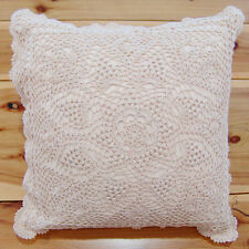 Hand Crochet Lace Cushion Cover Throw Pillow Cover Hand Made Pure Cotton Ivory