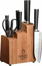 Ginsu Chikara 8-Piece Stainless Steel Knife Set Bamboo Block Japanese FREE SHIP!