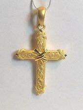 NOS Prima Gold Solid 24k Yellow Gold Textured & Polished Cross Pendant