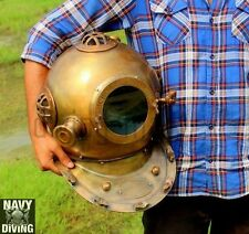 ANCHOR DIVING DIVERS HELMET SOLID STEEL & BRASS FULL SIZE IN ANTIQUE