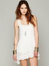 New Free People Voile And Lace Trapeze Slip Size SMALL, White with Gray Dots