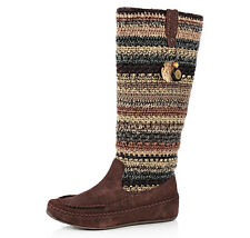 NEW THE SAK Womens Aspyn Slouchy Suede Leather Crochet Mocs Boots 7.5 Logo Charm