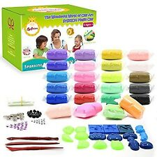 SySrion Air Dry Clay, 24 Colors Ultra Light Modeling Clay Magic Crafts Kit with