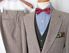 Vtg WOOL TWEED 2pc Suit ~ 40 L ~ HERRINGBONE jacket pants IVY sport coat Blazer