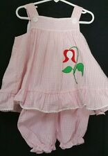 Vintage Samara Baby Girl Dress Size 2T Toddler 2 Seersucker Flower Bloomers NWT