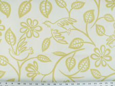 Drapery Upholstery Fabric Modern Printed Cotton Floral/Bird Design - Chartreuse