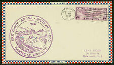 1931 FIRST FLIGHT AIR MAIL ROUTE AM 19 - FLORENCE, SC - C12 FRANKING (ESP#1446)
