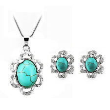 Vintage Turquoise Flower Jewellery Set Earrings Statement Pendant Necklace S625