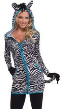 Womens Adult Sexy Female Urban Zebra Striped Costume Hoodie Dress - Fast Ship -