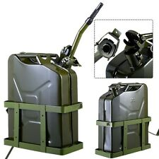 Goplus 5 Gallon 20L Gas Jerry Can Fuel Steel Tank Military Green w/ Holder New