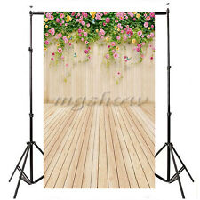 3x5FT Cloth Photography Backdrop Studio Prop Background Flower Wood Wall Floor