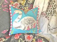 DESIGNERS GUILD KIDS CUSHION COVER PARADISE SWAN AQUA WITH TRIM DG LABEL 40X40CM