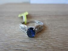 Himalayan Kyanite White Topaz Ring Platinum Overlay Sterling Silver Size 5