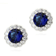 Luxury 18K Gold GP Blue Sapphire Stud Earrings with Swarovski Crystals New