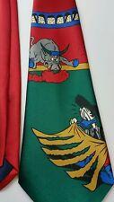Serafino Neck Tie Red Classic Wide Silk Donald Duck Bull Fight  Handmade Disney