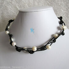 "18"" 9-10mm White Freshwater Pearl Necklace Black Leather Rope Necklace"
