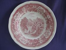 red pink transferware BURGENLAND FLAT SOUP PASTA BOWL PLATE Villeroy&Boch toile