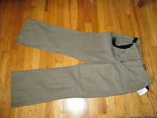 Women's St John's Bay Brown W Thin Blue Stripes Pants W/Belt Size 10 P NWT