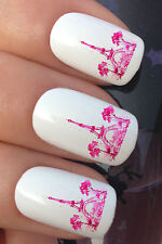 NAIL ART SET #364 x24 PINK EIFFEL TOWER PAINTING WATER TRANSFER DECALS STICKERS