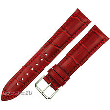 24mm Red Alligator Grain Leather Strap Wristwatch WatchBand Silver Pin Buckle