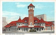 Maine postcard Portland, Grand Trunk Station train depot railroad RR