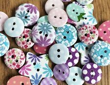 10 x Mixed Shabby Chic Pink Purple Floral Dot Buttons 2 Hole Sew Vintage Craft