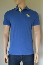 NEW Abercrombie & Fitch Classic Big Icon Polo Shirt Blue Moose Logo M