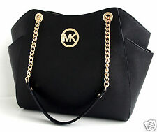 Michael KORS BORSA/BAG JET SET TRAVEL LG CHAIN shldr Hobo SAFFIANO BLACK NUOVO!