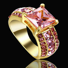 Size 6 Princess Cut Pink Topaz Gold Plated Wedding Engagement Cluster Ring Party