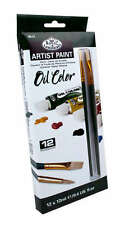 ARTISTS OIL COLOR PAINT SET OF 12 + 2 BRUSHES BY ROYAL & LANGNICKEL