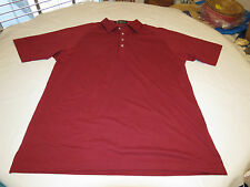 Mens Alan Stuart XL dark red burgandy short sleeve polo shirt casual EUC@