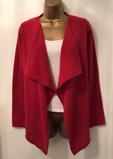 BRORA 100% CASHMERE RUST RED WATERFALL STYLE LONG SLEEVE CARDIGAN SIZE 8-10