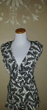 Ann Taylor black and white print faux wrap blouse size small