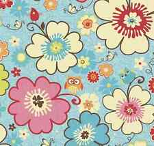 Jersey KNIT Fabric by Yard - Happy Flappers Main Blue Owls Flowers - Riley Blake