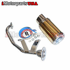CHINESE GY6 150CC SCOOTER SHORT SHORTY HIGH PERFORMANCE EXHAUST MUFFLER GOLD NEW