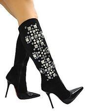 MORI ITALY KNEE HIGH BOOTS STIEFEL STIVALI LEATHER STUDS SILVER BLACK NERO 38