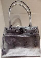 Nine & Co Handbag Shoulder Shiny Silver Moc Croc NWOT