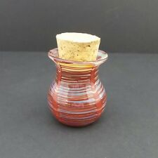 Hand Blown Glass Jar Jug Red Stripe Wrapped Fitted Cork Herb Spice Pipe Tobacco2