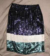 Women's 8 JCREW COLLECTION Sequined Color Block Straight Pencil Skirt NWT Sequin