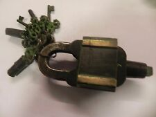 VINTAGE LOOK MAGIC LOCK FUNCTIONAL ANTIQUE BRASS PAD LOCK WITH  KEYS
