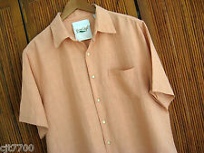 NWT Mens Silk Linen Camp Shirt Cool Hawaiian Solid Beach Short Sleeved Medium M