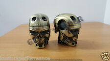 CUSTOM CHOPPER BOBBER BRASS CAST SKULL HANDLEBAR RISERS HARLEY OLD SCHOOL XS