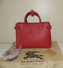 $1595.00 Authentic Burberry Medium Banner House Check Mahogany Red Tote Bag
