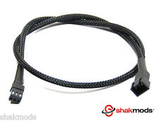 Shakmods 3 pin Fan Black Sleeved 30cm Computer Hand Sleeved Extension Cable UK
