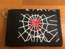 Tri-Fold Spider Wallet With Key Chain Fob Clip Zip Fastening Velcro Halloween