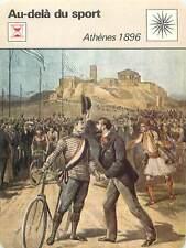 FICHE CARD JO Athens Athènes 1896 Greece Grèce Cycliste Pierre de Coubertin 70s