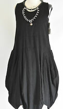 FAB SARAH SANTOS  100% LINEN pocket front parachute dress size M/L BLACK