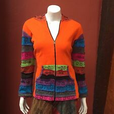 JK02L Nepalese Patchwork Razor Cut Multi Color Hoodie Cotton Jacket Nepal Size L