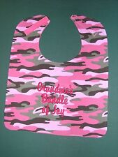 PERSONALIZED Name Pink Green Camo Camouflage BIBS BABY BIB LG Up to 4 words USA